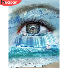 HUACAN – peinture diamant 5D, paysage pour les yeux, broderie artistique, paysage de mer, décor de maison, mosaïque, cadeau fait à la main