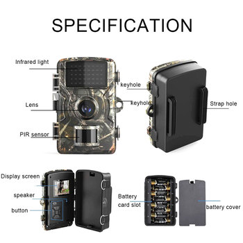 DL-100 Trail Camera Forest Camera 12MP 1080P Wildcamera Tracing Game IP66 Night Vision Hunting Camera Photo-Trap Thermal Imager 6