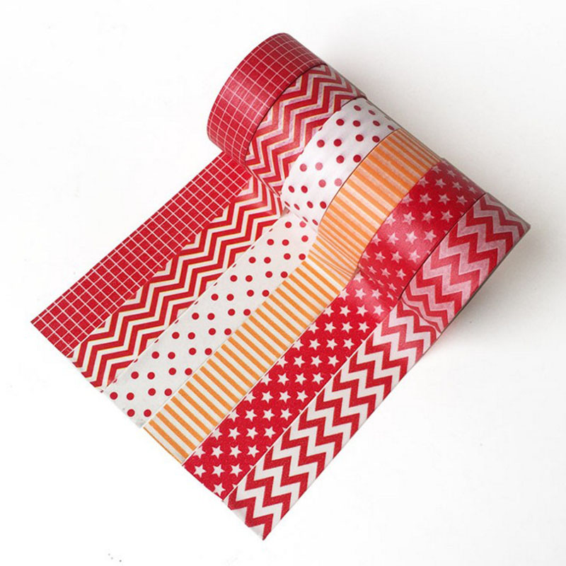 1 Pcs 15mm*5m Washi Tape Decorative Adhesive Tapes Red And White Wave-point Ripple Lattice Masking Paper Tape Diary Sticker Gift