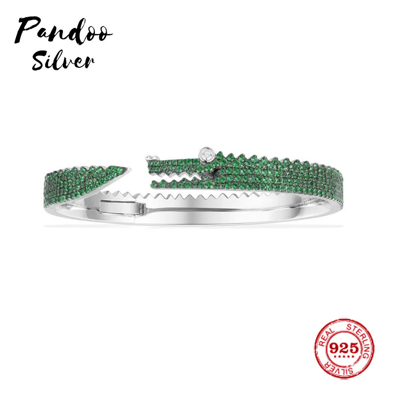 Fashion Charm Sterling Silver Copy 1:1 Copy,Silver Green Croco Open Cuff Women Monaco Luxury Jewelry Gift