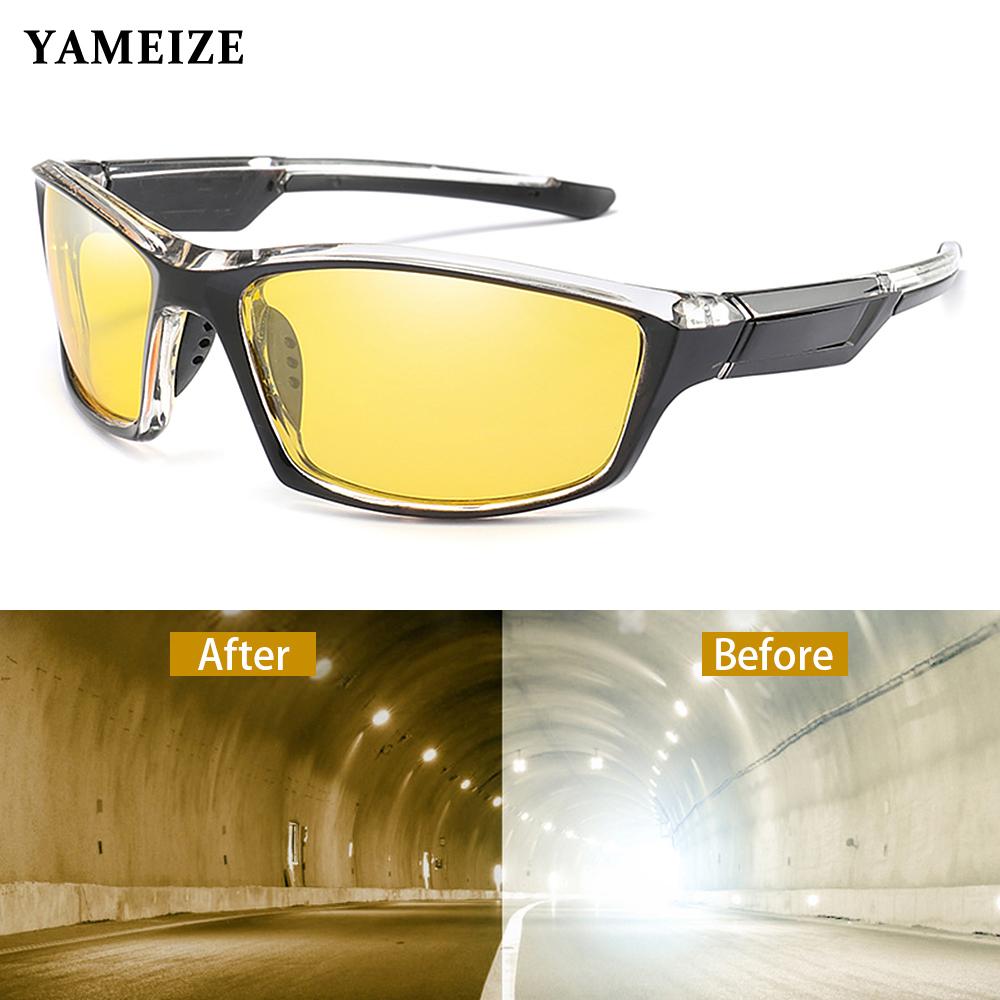 YAMEIZE Anti glare Night Vision Glasses For Driving Men Polarized Sunglasses Yellow Lens Eyeglasses Fishing Driver Goggles Gafas