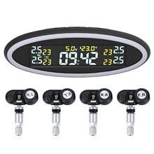 Sistema de monitoramento pressão dos pneus tpms do carro inteligente digital display lcd sistemas alarme segurança automática com lâmpada alerta atmosfera