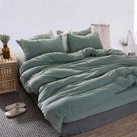 Зеленый комплект постельного белья из 4 предметов, хлопковое постельное белье, зеленые простыни, пододеяльник, набор простыней
