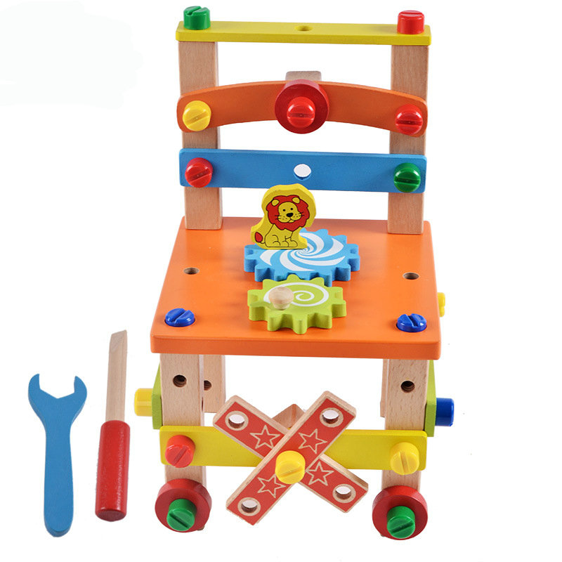 Multi-functional Chair Nut Combination Educational Tools Children Wooden Toys Disassembly and Kids wood Blocks