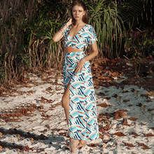 Women's Beach Tunic Wear Cape On Swimsuit Dress Pareo The Summer Swim 2020 New Leisure False Skirt Print Acetate