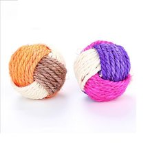 Pet Soft Toys Cotton Dog Ball Toys Durable sisal hemp Chew Toys Training Teething Toys for Small to Medium Puppy(China)