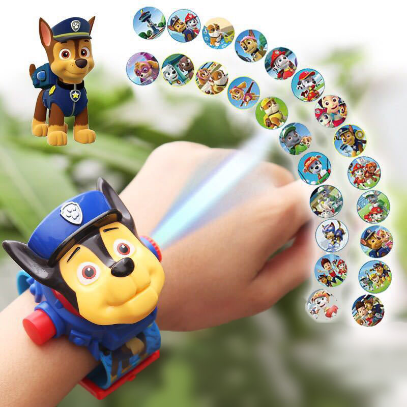 Paw Patrol Juguete 3D Projection Cartoon Watch Patrulla Canina Action Figures Kids Toys For Children's Birthday Gifts 2A18