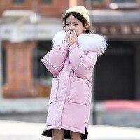2019 New Girls Winter Down Jacket Double Side Wear Long Coat Kids Outerwear For Big Girl 120 160cm Height Parkas Snow Wear