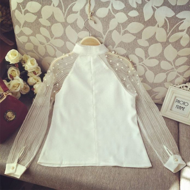 Women Style Bow Of Pearl White  Casual Chiffon Shirt Blouses Tops Tee Rk 6