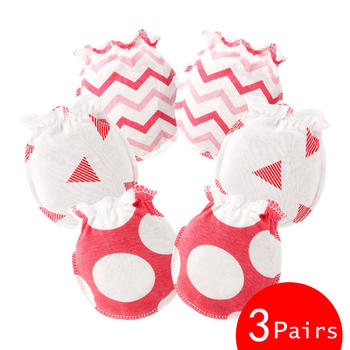 baby cotton mittens red