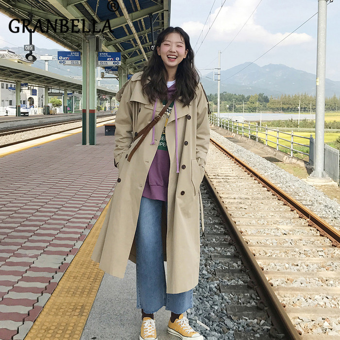 Temperament Loose British Style khaki Long   Trench   Coat Vintage Solid Color Double Breasted Turn-Down Collar Female Windbreaker