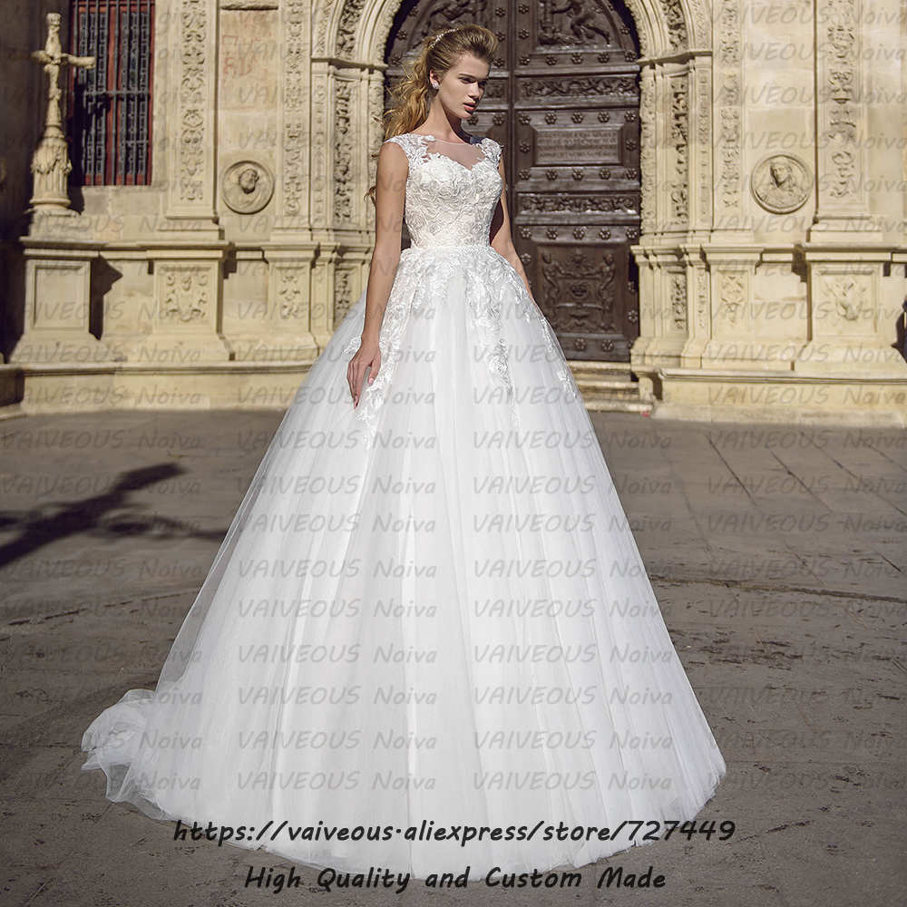 Vestidos de Novia New Fashion Bridal Gowns Romantic Lace Tulle A Line Wedding Dress 2020 Cheap Bridal Dresses Robe de Mariee-in Wedding Dresses from Weddings & Events