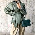 Fitaylor Neue Frühling Herbst 2021 PU Leder Jacke Casual Weibliche Streetwear Outwear Jacken Frauen Faux PU Leder Gürtel Mantel