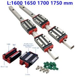 100% tamaño HIWIN 1600, 1650, 1700, 1750 mm riel lineal de guía de hg15 hgr15 lineal transporte hgh15ca hgw15cc para cnc