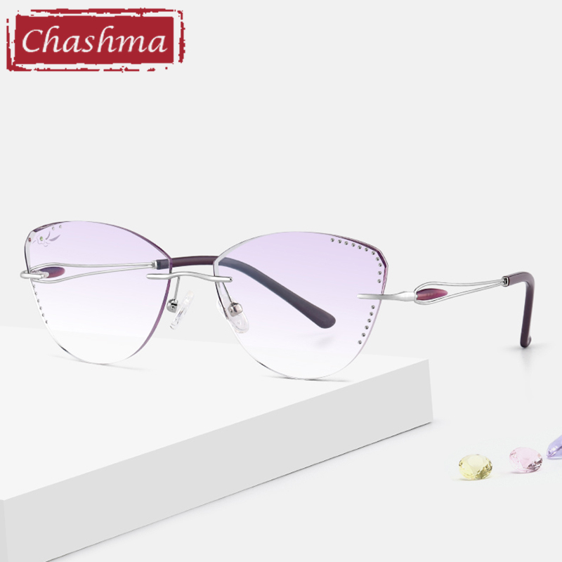 Cat Eye Prescription Glasses For Women Rhinestone Gradient Colored Lenses Rimless Frame