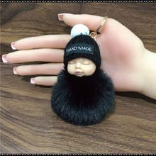 New sleeping baby keychain fake Fur Pom Pom Key Chain Women Trinket Car Key Ring Keychain Jewelry Gift fluffy keychain on bag цена 2017