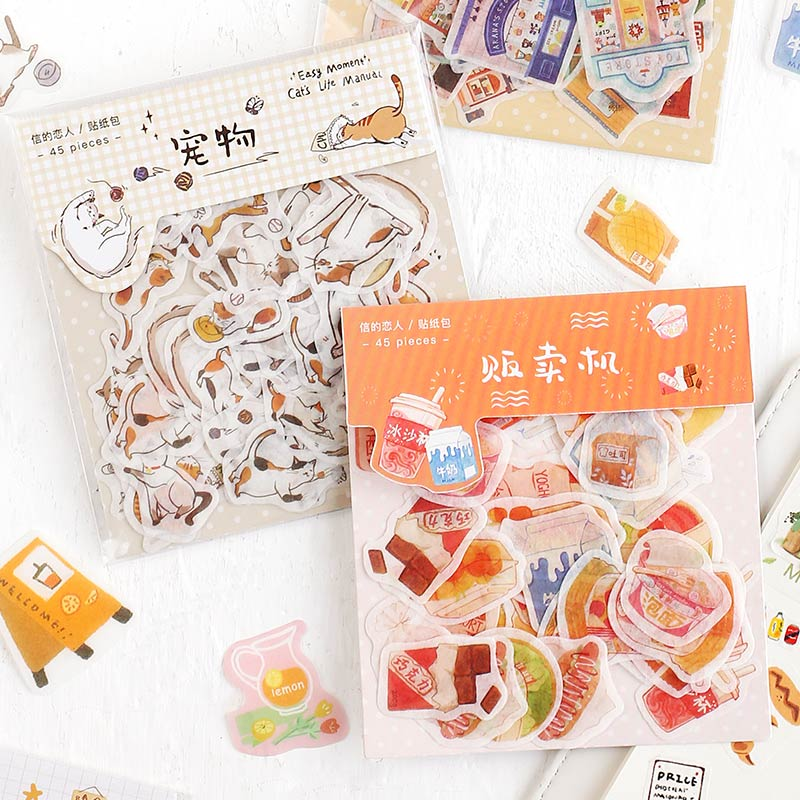 Picture Book Life Series Journal Decorative Stickers Scrapbooking Stick Label Diary Stationery Album Cute Cat Food Sticker