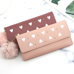 Women Wallets Phone Clutch Bag Purses Long PU Leather Wallets Female Money Coin Pocket Card Holder Wool Ball Ladies Wallets