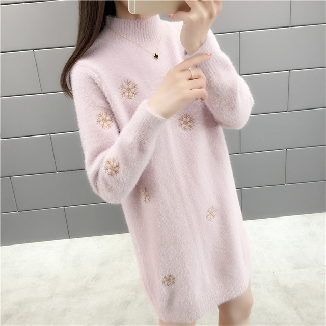 With winter half a turtleneck imitated mink knitted snowflakes in long sweater 45 6