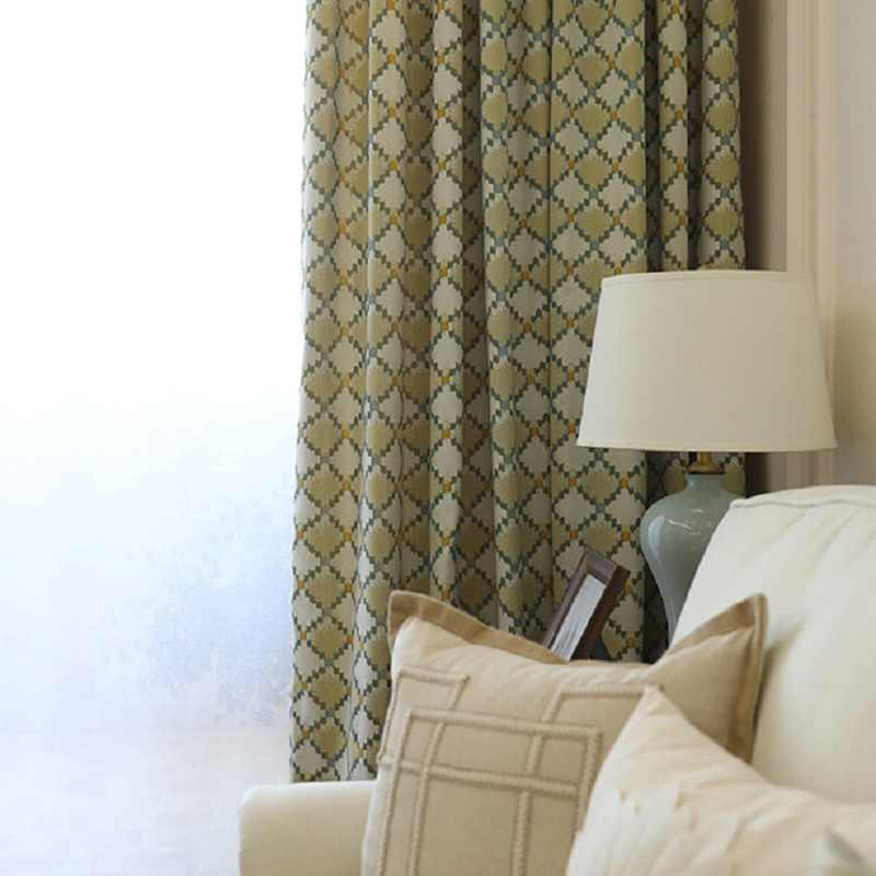Curtain Finished American Bedroom Balcony Jacquard Living Room Window Chenille Curtain Pure Color Plaid Modern Simple