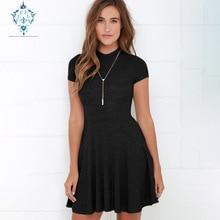 CURVY 2019 solid mini dress women tight sexy dresses Stylish round neck short-sleeve fitted waist summer vestidos de fiesta