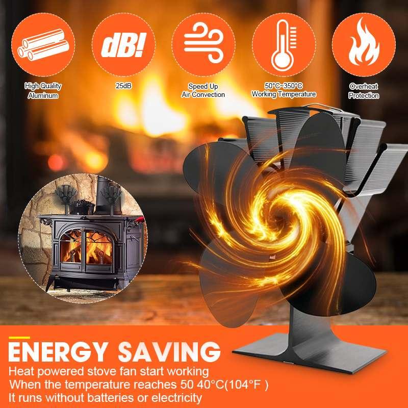 Professional Black 4 Blade Heat Powered Stove Fan Komin Log Wood Burner Eco Friendly Quiet Fan Home Efficient Heat Distribution