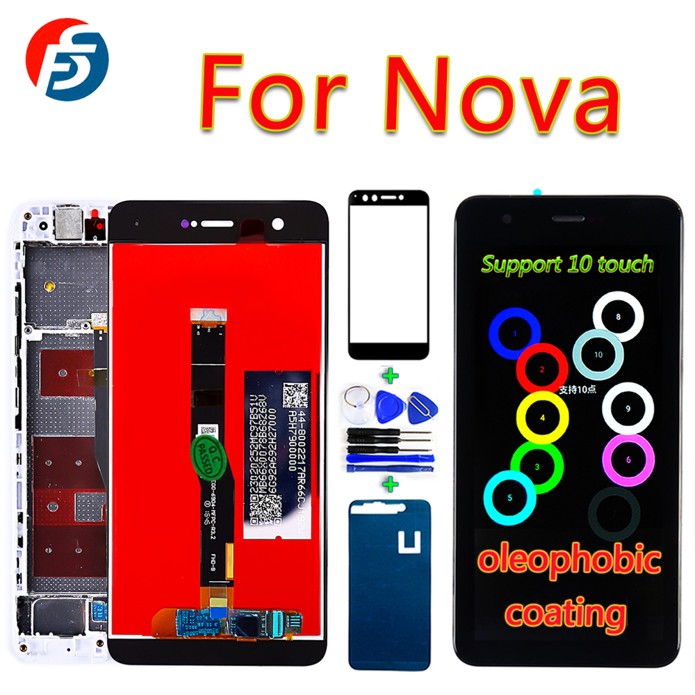 Original Huawei Nova 5.0 Inch LCD Display For CAN-L01 L12 L03 L13 Screen Digitizer Assembly 10 Touch Oleophobic Coating Free To