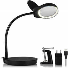 Magnifier Desk-Lamp Task Stand Reading 5x Or with Switchable Close-Work Workbench-Craft