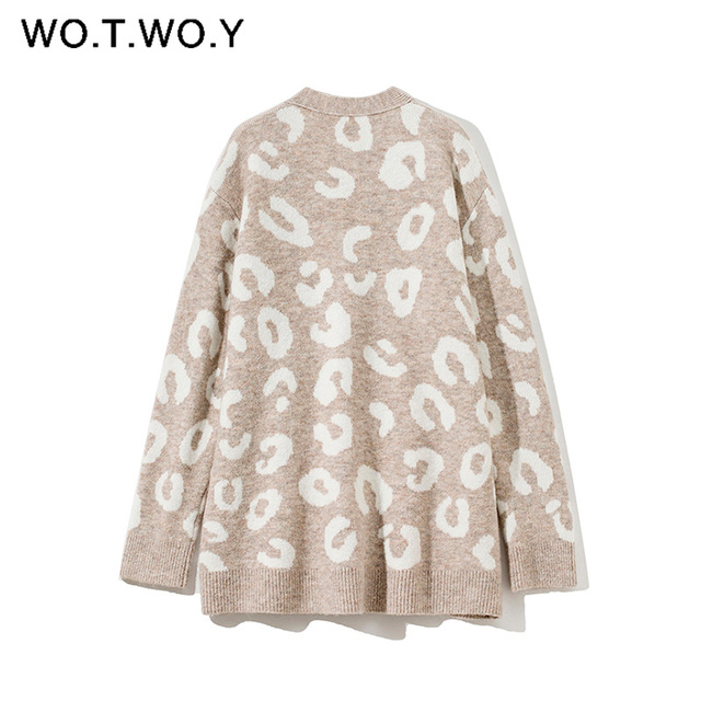 WOTWOY Autumn Winter V-Neck Knitted Cardigans Women Single Breasted Printed Loose Sweaters Female Casual Cardigans Soft Knitwear 2