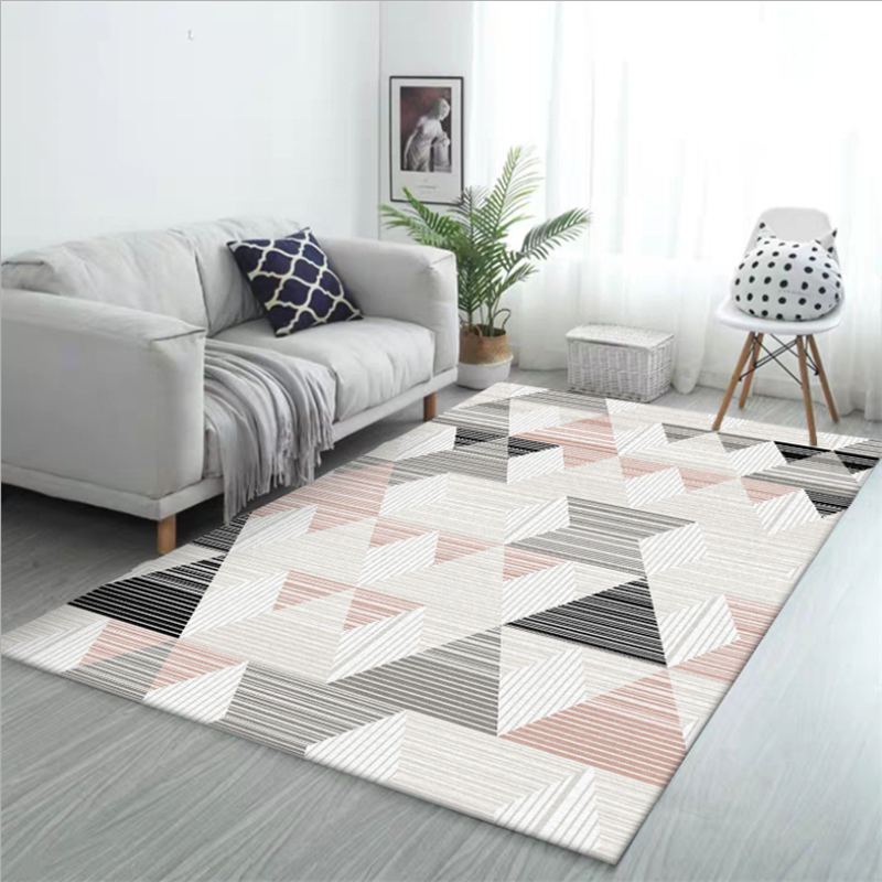Area Rug For Living Room Pink Irregular Stitching Pattern Non-slip Carpet Bedroom Rug Rugs For Children Rooms 100% Polyester