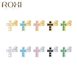 ROXI Бриллиант Крест, серьги со шпилькой, для женщин, модные серьги в форме плата 925 для девочек с защитой от проколов маленькие серьги Личность вечерние ювелирные украшения|Серьги-гвоздики|   | АлиЭкспресс