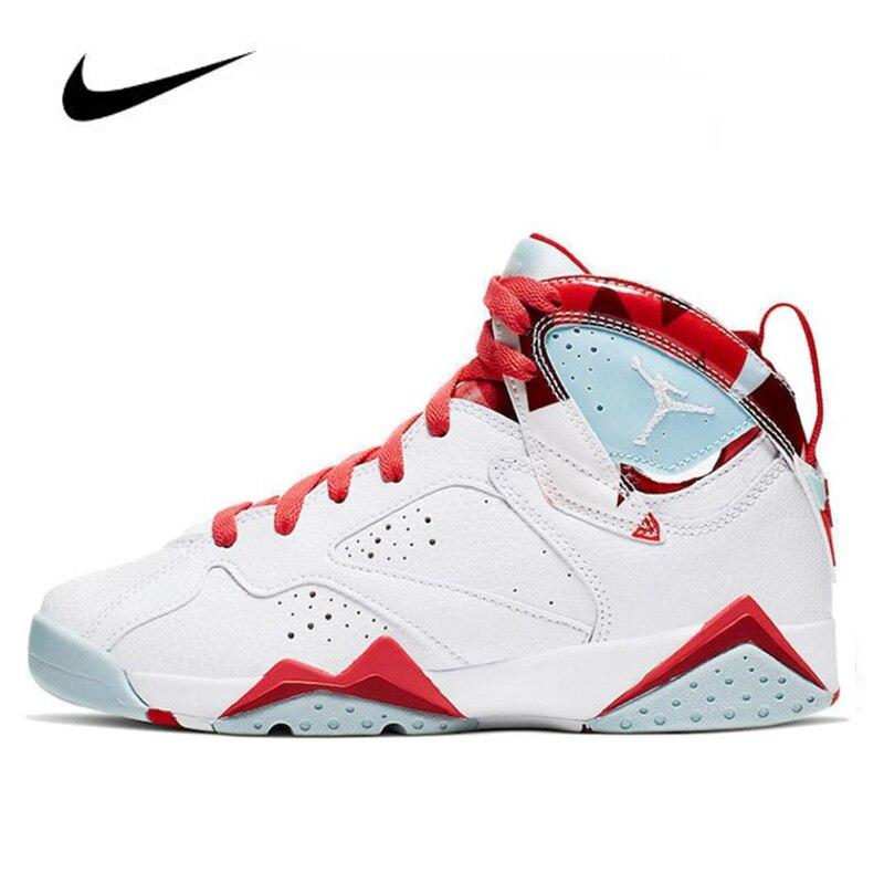 Authentic Nike Air Jordan 7 Men's Jordan Shoes Topaz Mist (GS) 442960-10 Basketball Shoes Lace-up Gym Training Boots Sport Women
