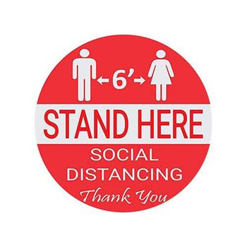 Wait Here Stand Here Keep 6ft in Between Distance Marker Floor Decal for Social image