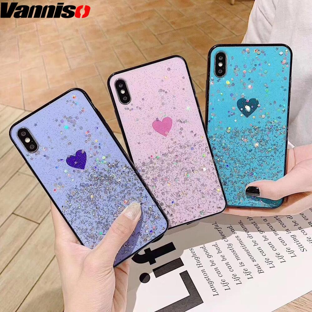 Vanniso Bling Star Soft TPU Phone Case For iphone XS Max XR X 8 7 6S Plus Glitter Crystal sequins case for iphone 8 7 6 Hearts in Fitted Cases from Cellphones Telecommunications