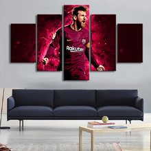 Posters Famous Football Stars Barcelona 10 Messi 5 Pieces Canvas Paintings Wall Art Sports Print Picture Kids Room Decor Frame