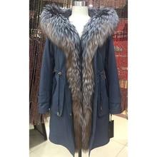 Women winter parka coat jacket fox collar detachable rabbit fur liner quality fabric light blue color D7026