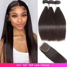 Straight Menselijk Haar 3 Bundels Met Sluiting Tuneful 4X4 Vetersluiting Met Bundels Tuneful 100% Braziliaanse Remy Haar weave