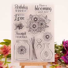 Vase Clear Stamps Seal for DIY Scrapbooking Card Flowers Rubber Stamps Making Album Photo Crafts Handmade Decoration New Stamps azsg lovely cat clear stamps seal for diy scrapbooking card making photo album decoration supplies