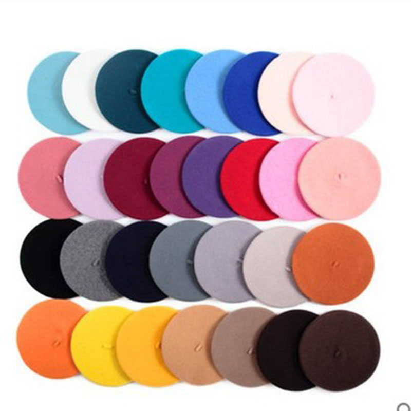 New Hot Sell 2019 Cheap Women Solid Color Beret Female Bonnet Caps Autumn Winter All Matched Warm Walking Hat Cap 20 Color