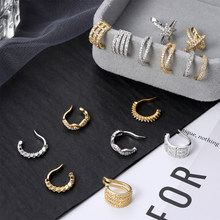 Punk Gold Sliver Adjustable Cz Ear Cuff No Piercing Conch Cuff Earring For Women Helix Cartilage Conch Fake Piercing Jewelry(China)
