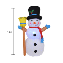 1pcs 1.2M Christmas Broom Snowman Inflatable Fun Toys with Color Changing LED Lighted Carnival Winter Party Props