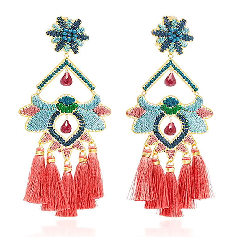 Boho Exaggerated Earrings Creative Women's Earrings Handmade Winding Insects Tassel Earrings Wholesale 2019 New Fashion Jewelry