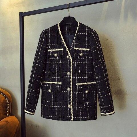 Luxury Designer Brand Wool Blends Coat for Women Fashion Black Vintage V Neck Plaid Wide Waisted Tweed Coat Islamabad