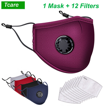 Tcare PM2.5 Mouth Face Masks Dust Reusable Mask with Breathing Valve Washable Masks + 12Pcs Filters Replaceable