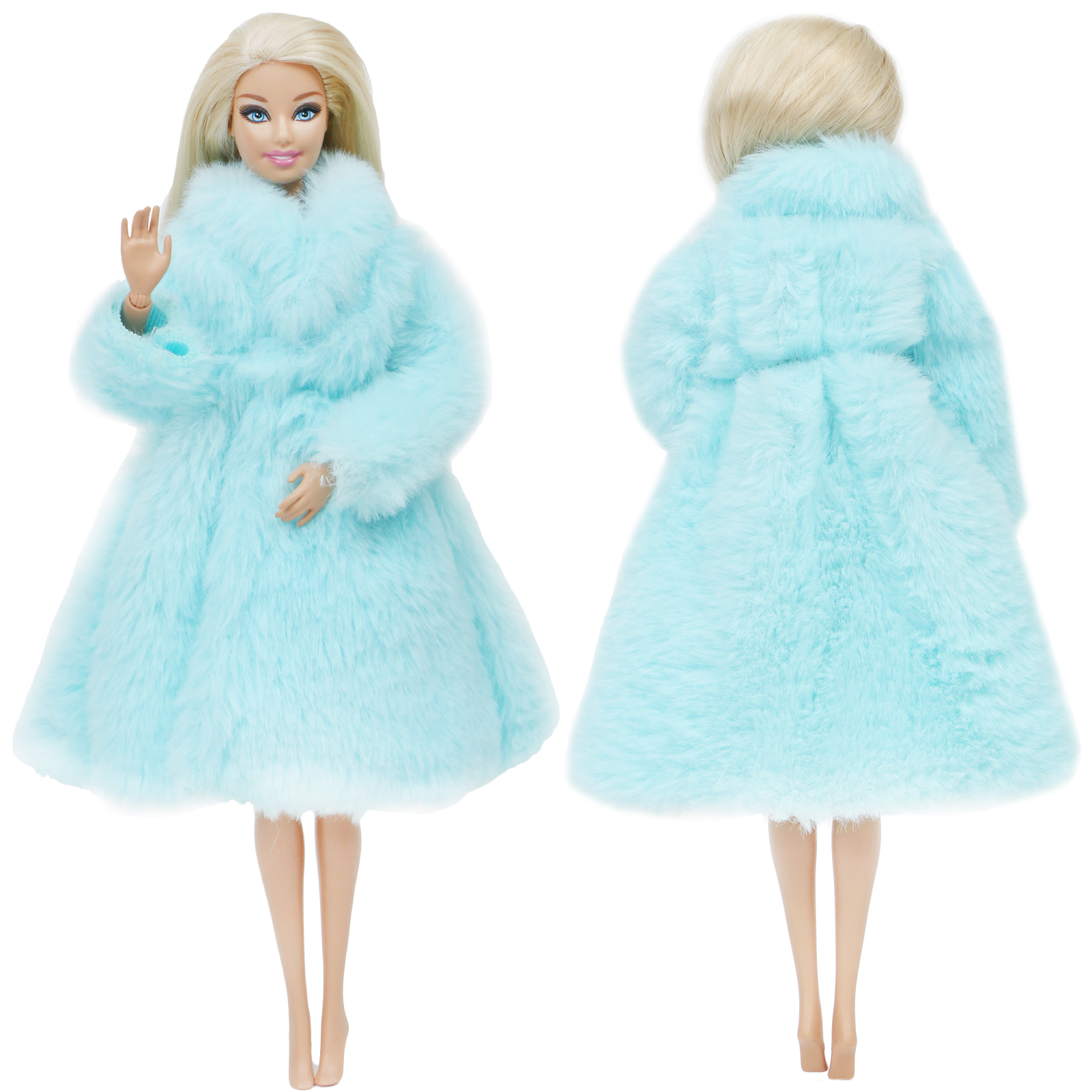 One Pcs Blue Wool Coat Noble Winter Wear High Quality Fashion Dress Accessories Clothes For Barbie Doll Dollhouse Kids Girl Toy
