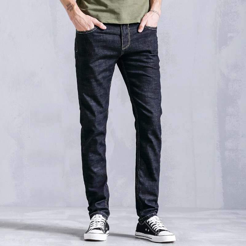 2019 Spring And Autumn New Style Men Youth Jeans Men's Slim Fit Skinny Pants Trend Medium Waist Cowboy Trousers