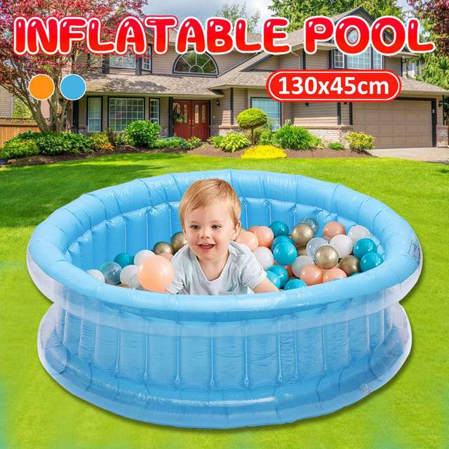 130cm Baby Kids Inflatable Round Swimming Pool PVC Ocean Ball Pool Bathtub Outdoor Indoor Water Play Fun for 0-3 Years Old