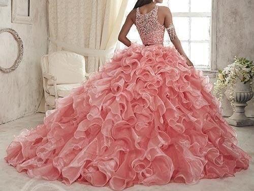 Купить с кэшбэком 2019 Ruffles Two Pieces Coral Quinceanera Dresses Sweet 16 Organza Plus Masquerade Sheer Prom Occasion Dress vestidos de 15 anos