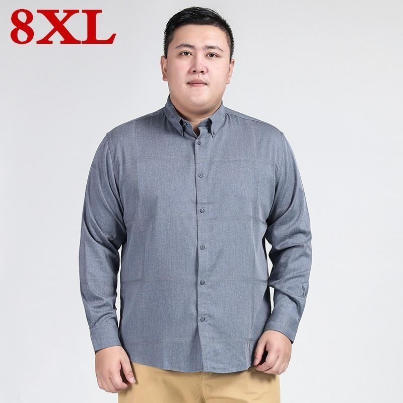 Big Size 8XL 7XL 6XL New Autumn Fashion Brand Men Clothes  Men Long Sleeve Shirt Men Cotton Casual Men Shirt Social Plus Size