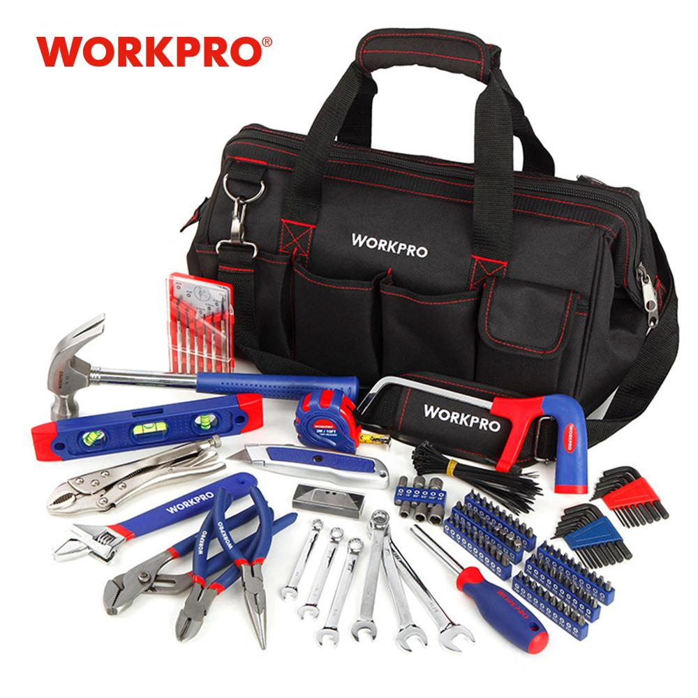 WORKPRO 156PC Home Tool Set Sanitair Tang Naaldtang Dual Wrench Set Hamerzaag Schroevendraaier Bits Set Inbussleutel Tape Level